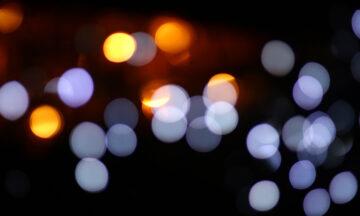 Blue and orange lights at night