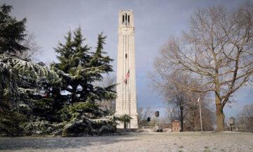 Memorial Belltower in the snow
